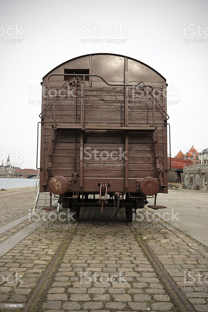 Old wooden goods waggon stock photo