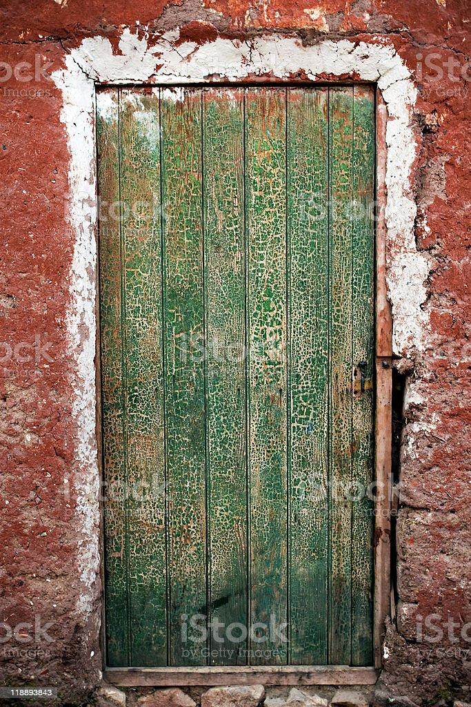 old wooden green door royalty-free stock photo