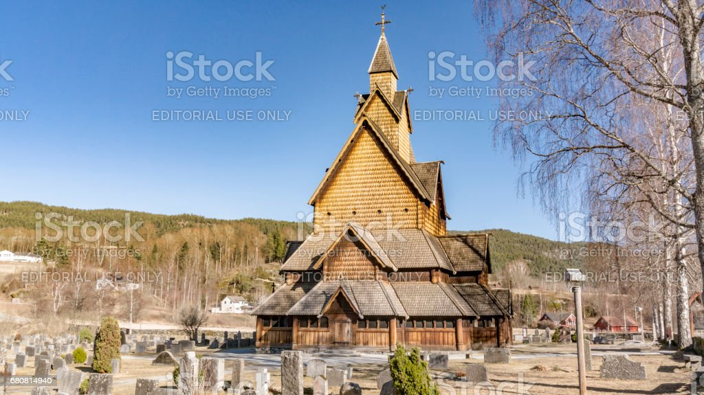 Old wooden Heddal stavkirke in Norway stock photo