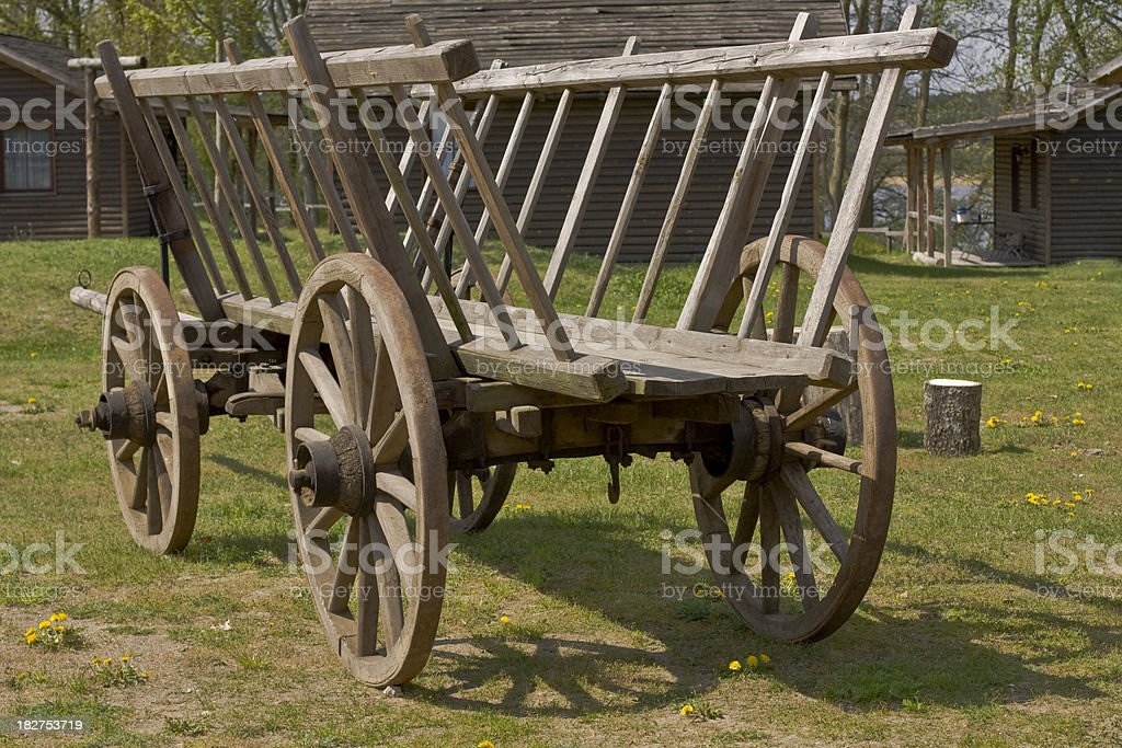 Old wooden waggon on farm stock photo