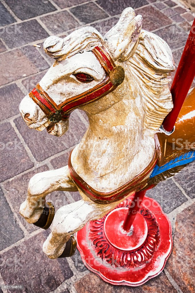 old wooden horse stock photo