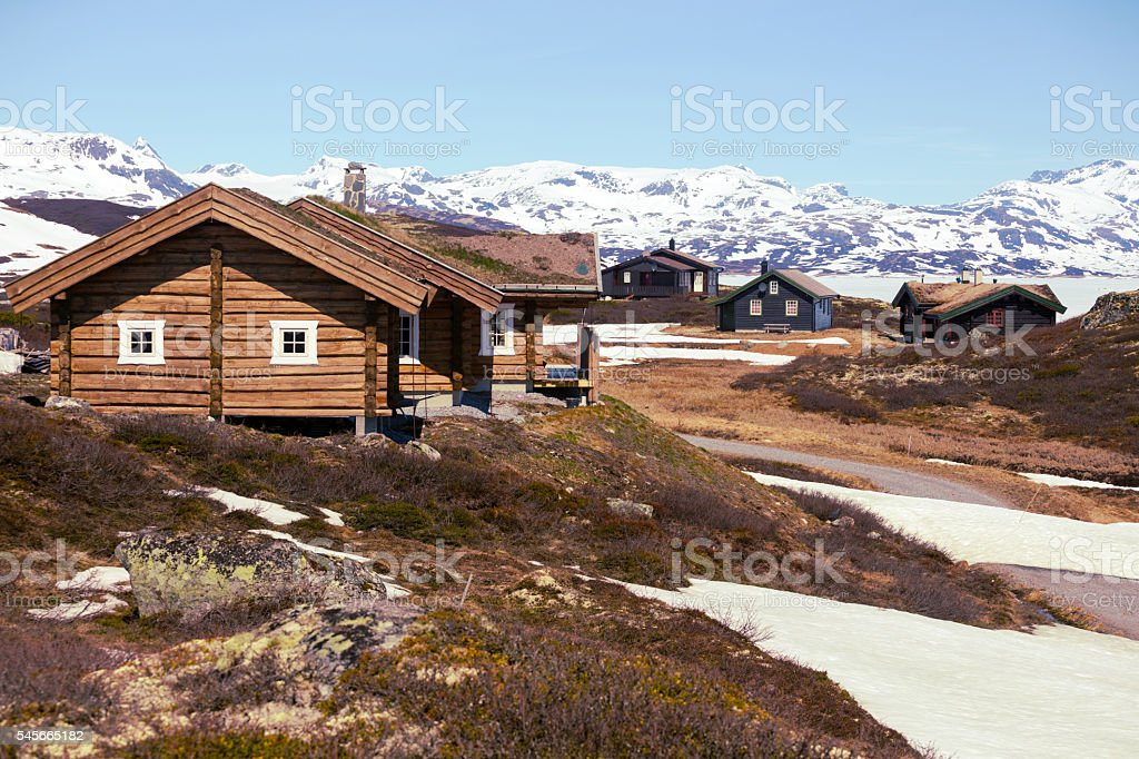 old wooden house at the Tyin stock photo
