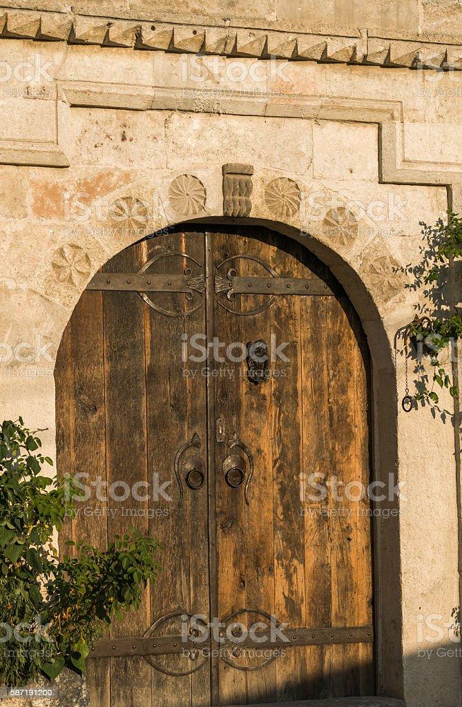 Old wooden house door stock photo
