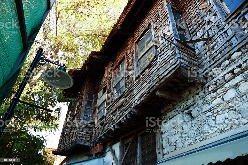 Old Wooden house in Historical Kaleici stock photo