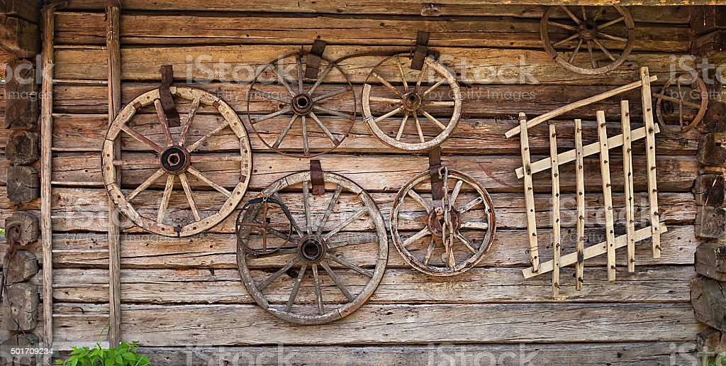 old wooden house wall stock photo