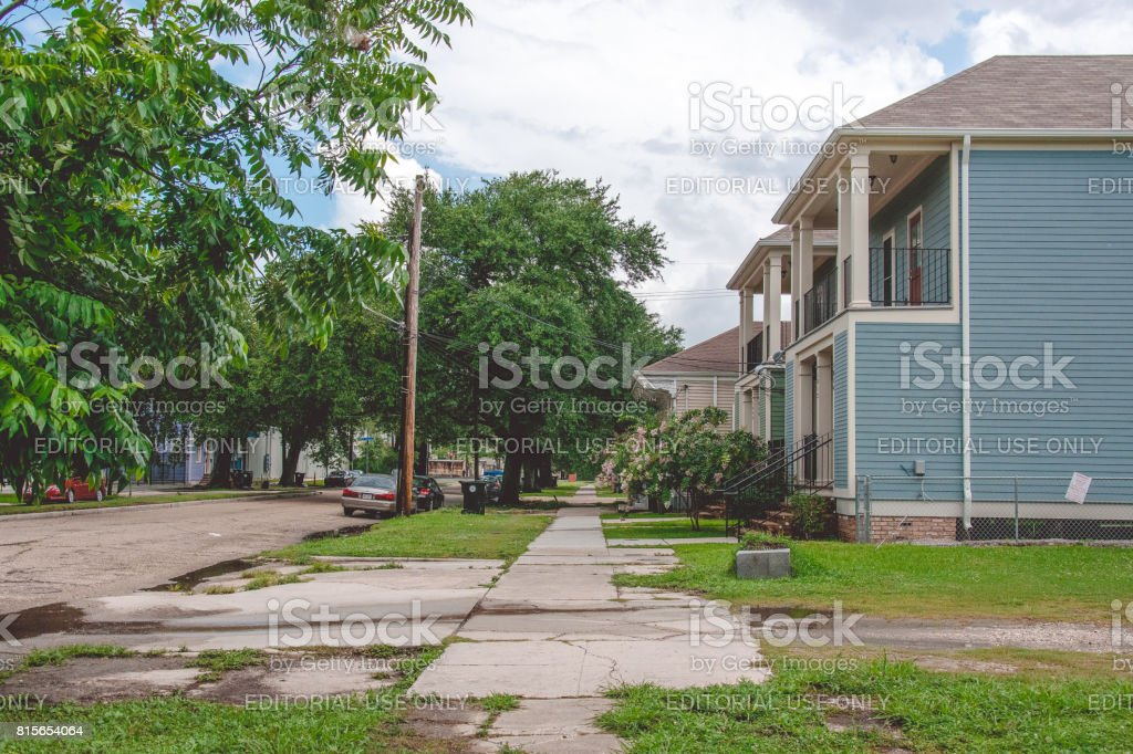 Old wooden houses in colonial style. Picturesque streets of old New Orleans stock photo