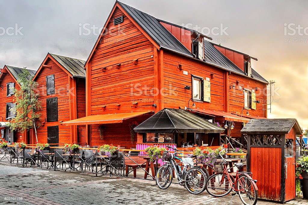 Old wooden houses in the old center in Oulu. stock photo