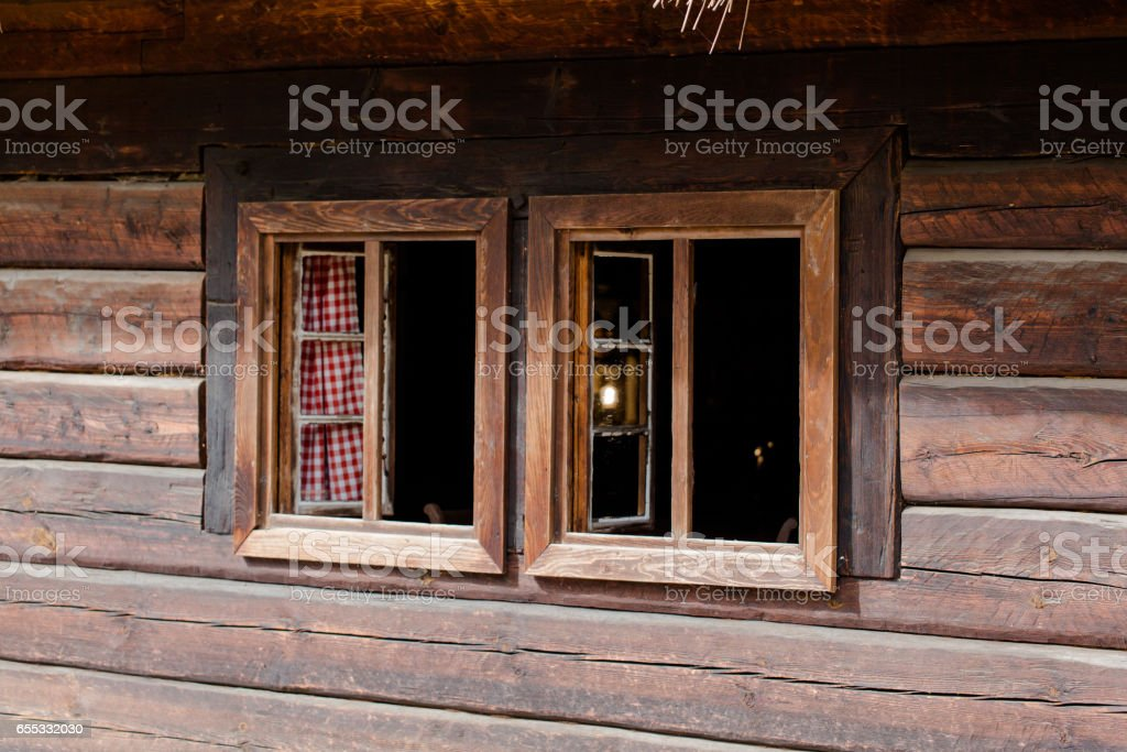 Old wooden hut in Poland stock photo