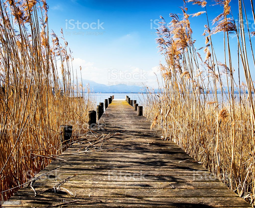 old wooden jetty stock photo
