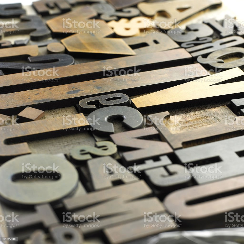 Old wooden letters stock photo