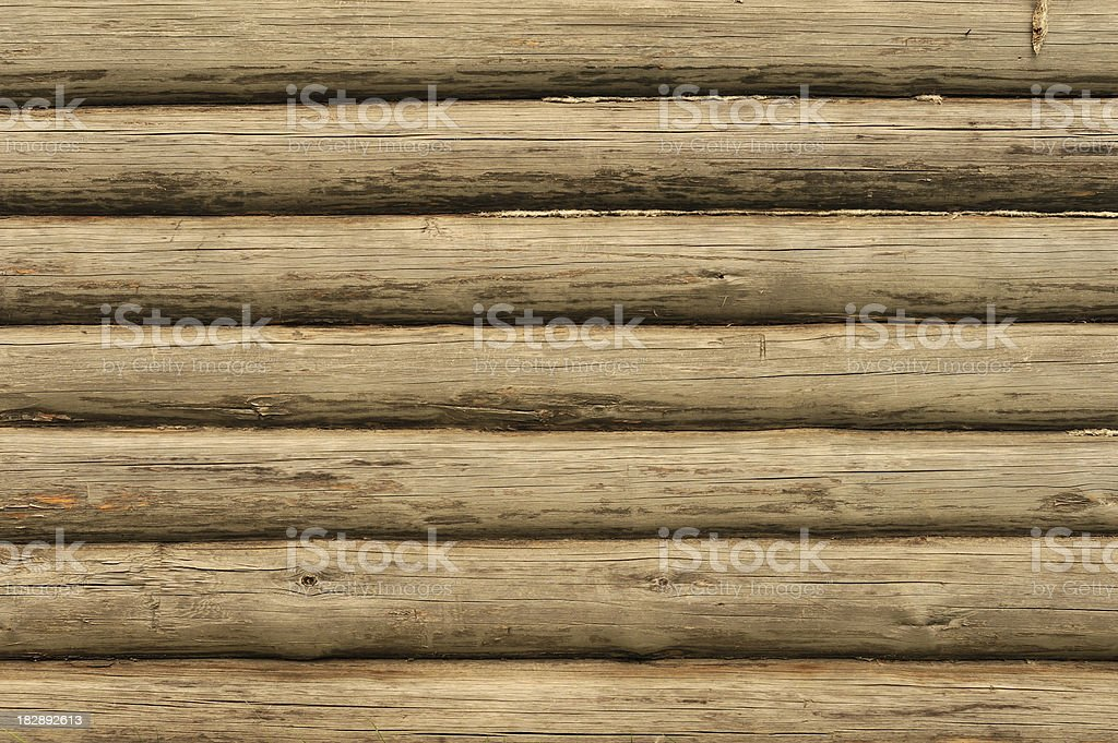 Old wooden log wall stock photo