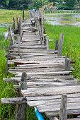 Old wooden  long  bridge.