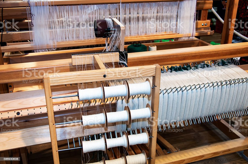 Old wooden loom stock photo