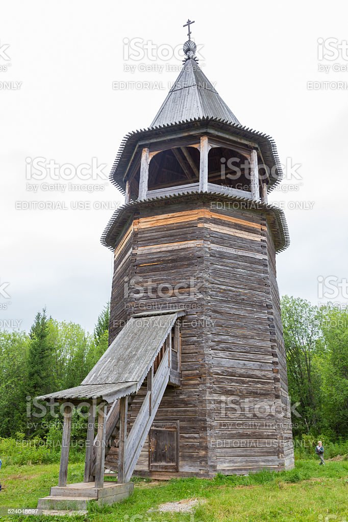 Old wooden multi-faceted belfry without single nail stock photo