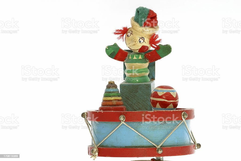 Old wooden music box with punchinello stock photo