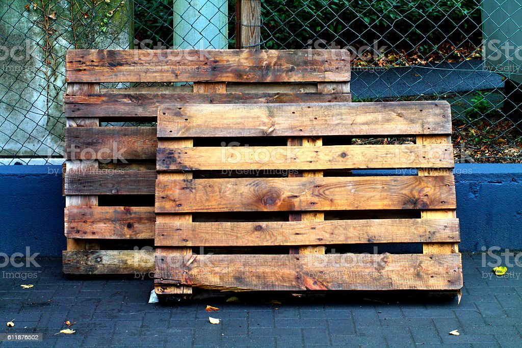 Old wooden palettes. stock photo