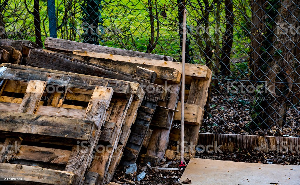 Old wooden pallets stock photo