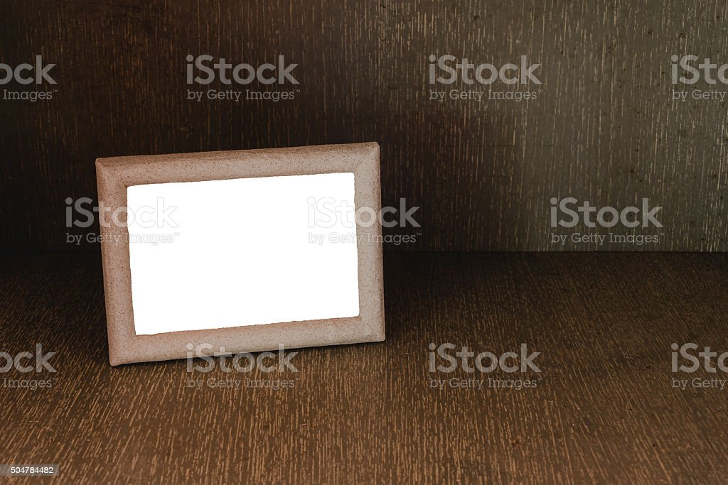 Old wooden picture frame with clipping path, Still life stock photo