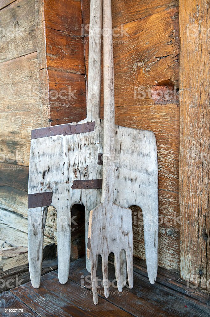 Old Wooden Pitchfork stock photo