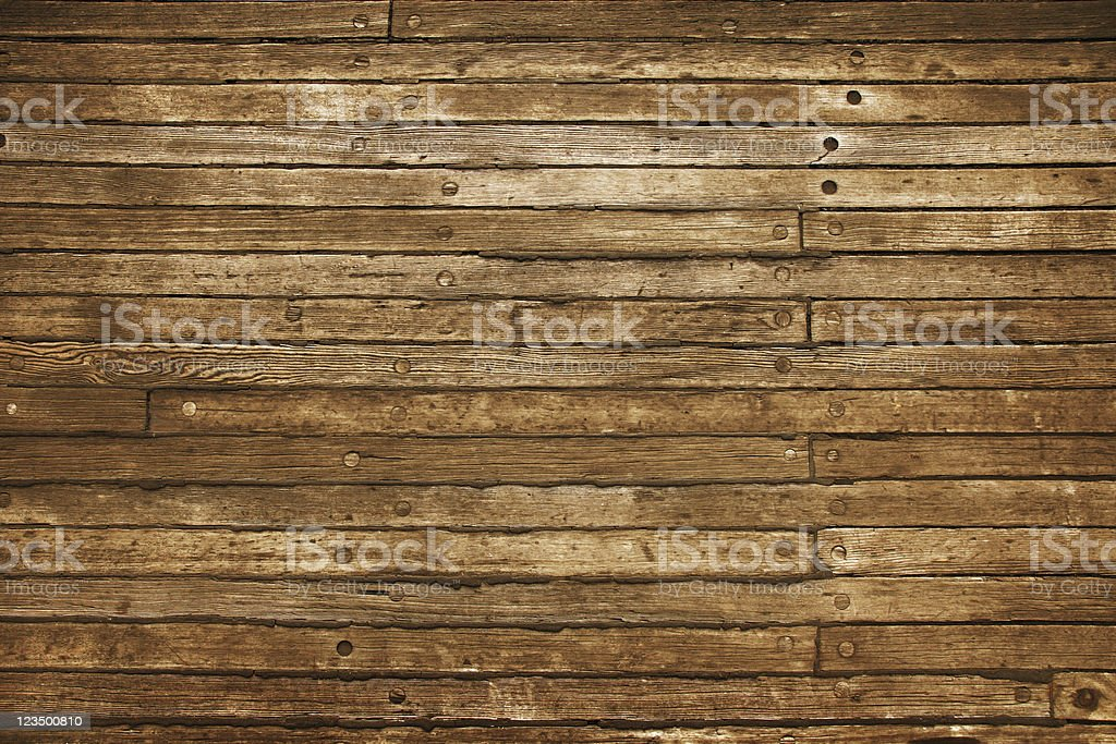 Old Wooden Planks on Boat Deck stock photo