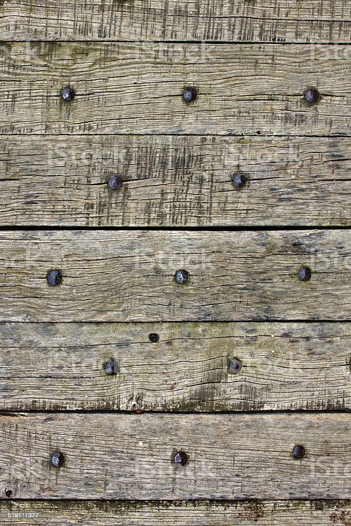 Old wooden planks with nails stock photo