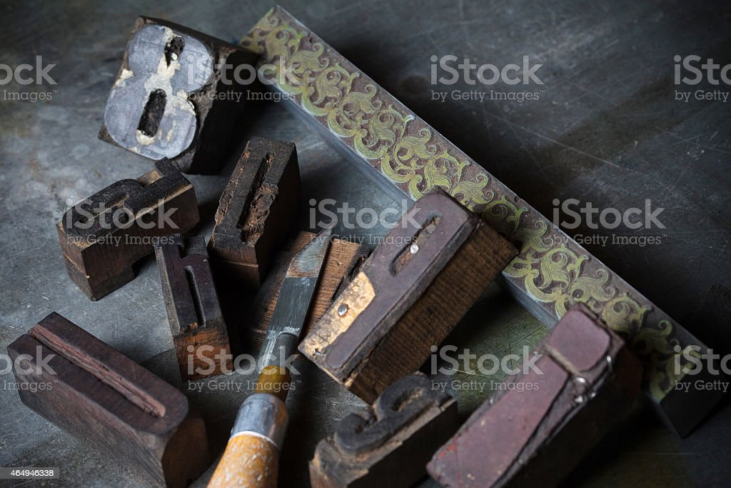 old wooden printing press letters royalty free stock photo