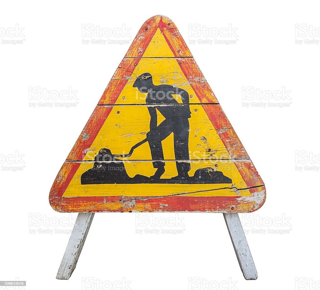 Old wooden road sign. stock photo