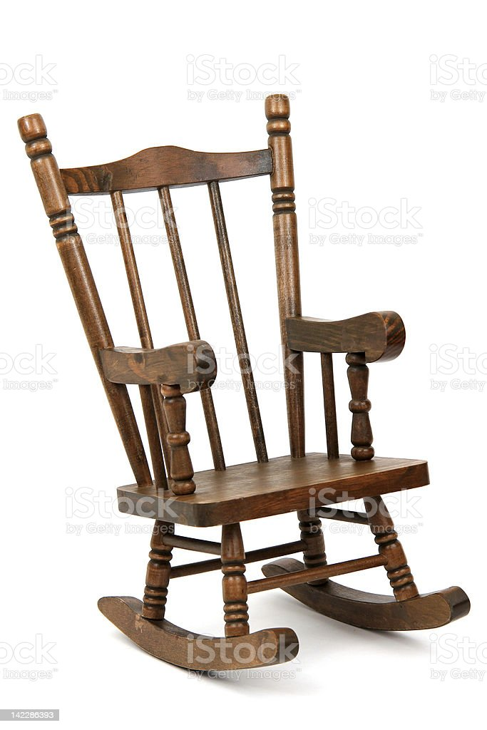 old wooden rocking chair on white background stock photo