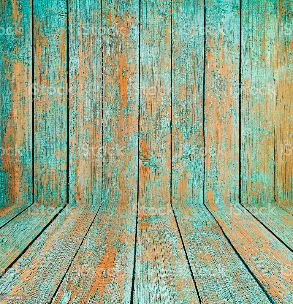 Old wooden room interior, green background stock photo
