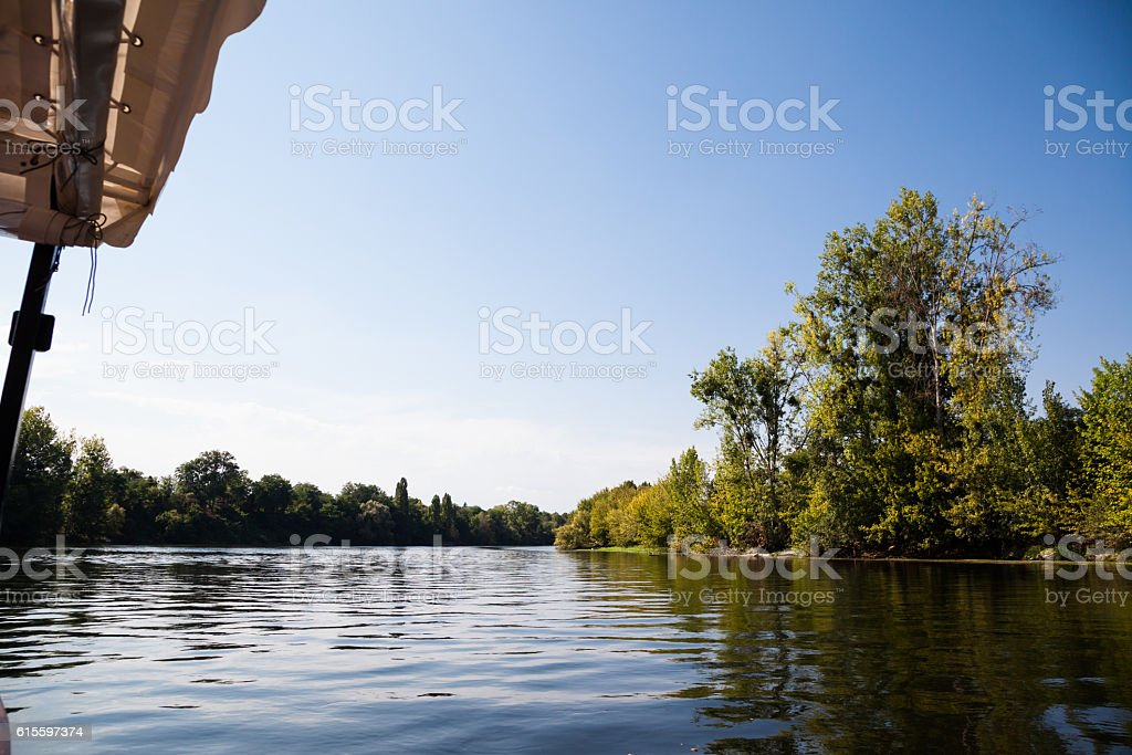 old wooden sailing  boat on Dordogne river stock photo