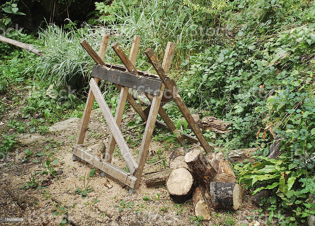 Old Wooden Sawhorse in Forest stock photo