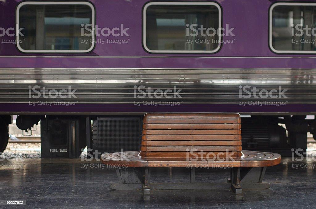 Old wooden seat at Bangkok Railway Station stock photo