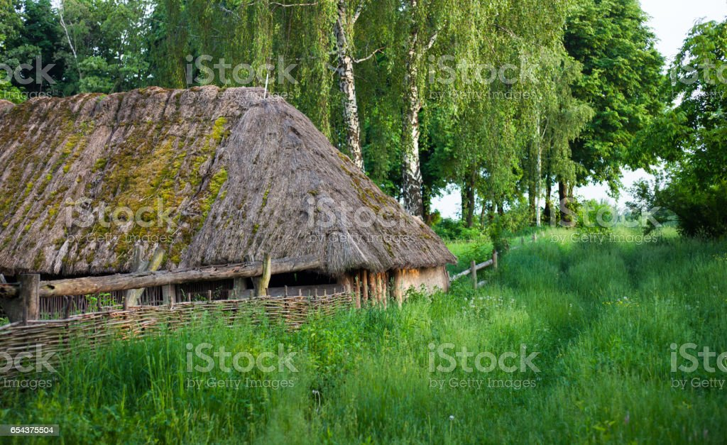 Old wooden shed with straw-thatched roof. stock photo