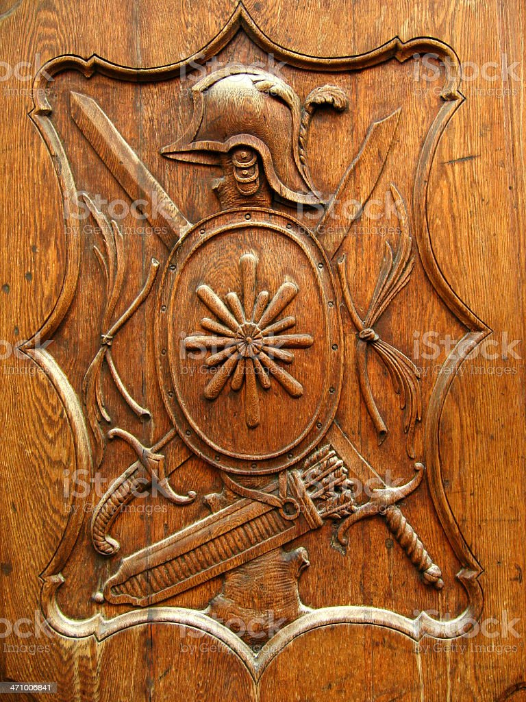 old wooden shield royalty-free stock photo