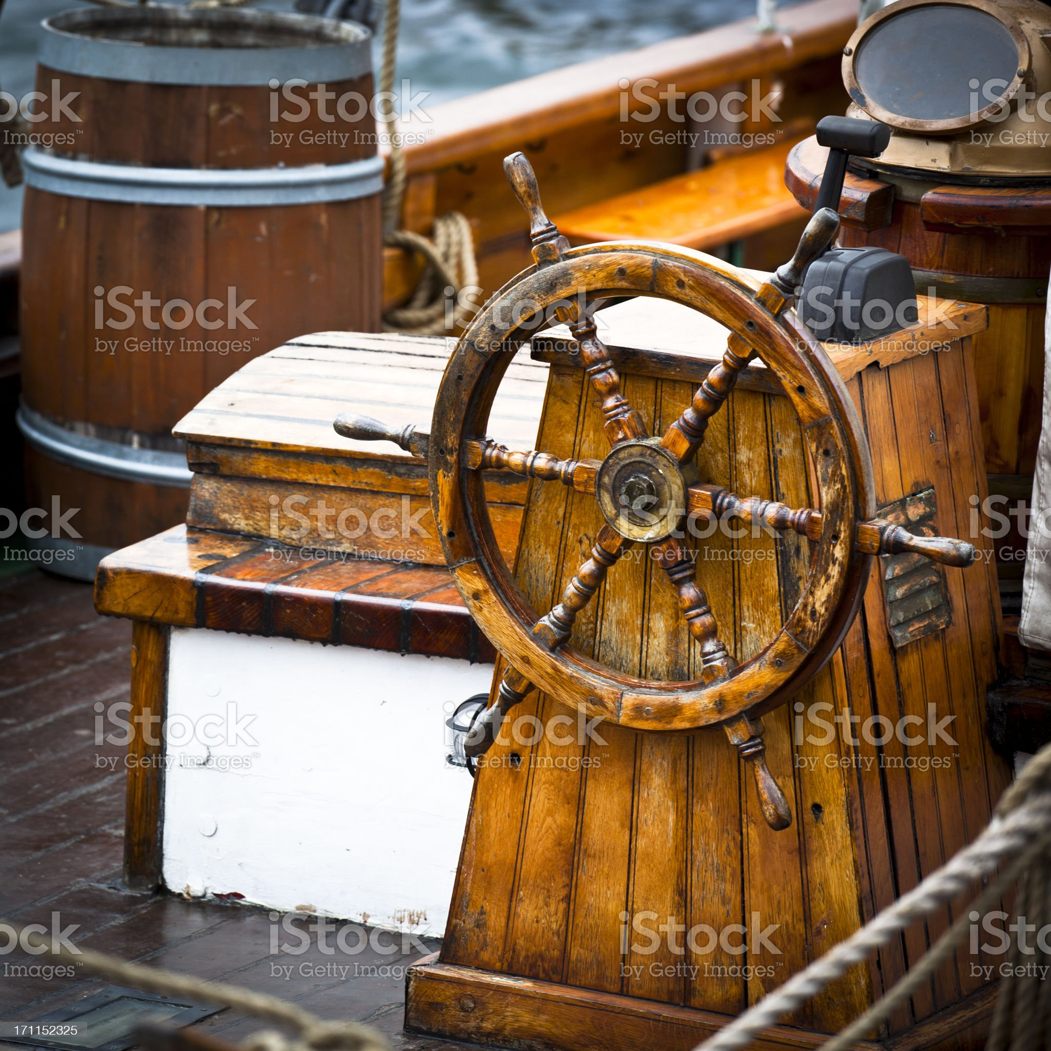 Old Wooden Ship Rudder royalty-free stock photo