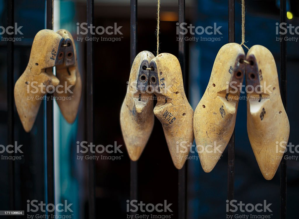 old wooden shoe molds stock photo