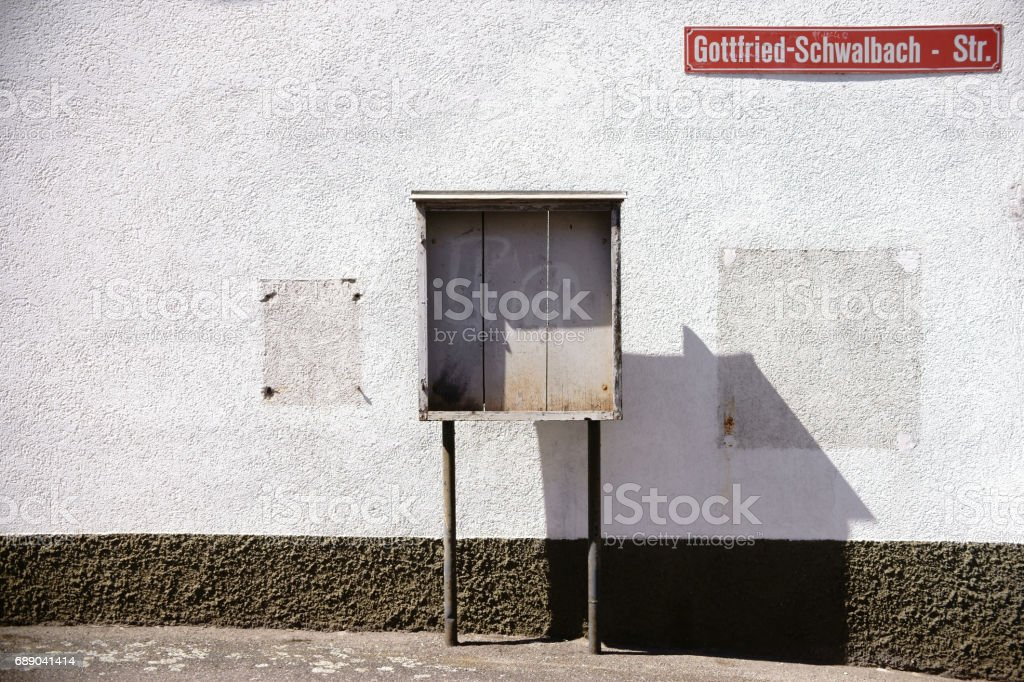 Old wooden showcase stock photo