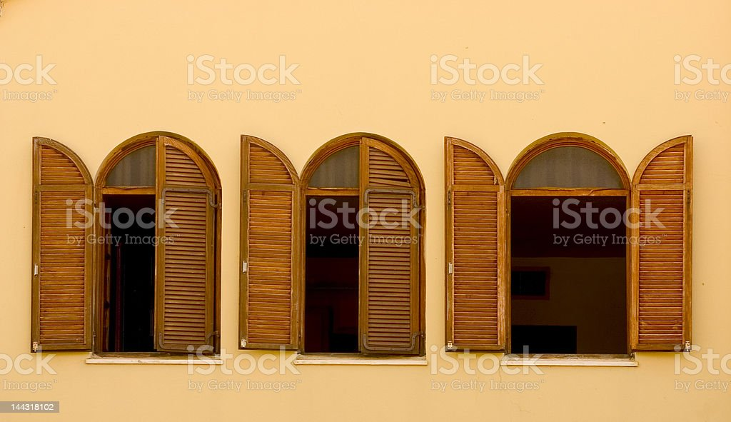 old wooden shutters stock photo