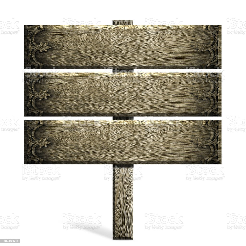 Old wooden sign isolated on white patterned thai. royalty-free stock photo