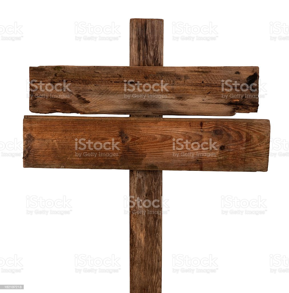 Old wooden signpost stock photo