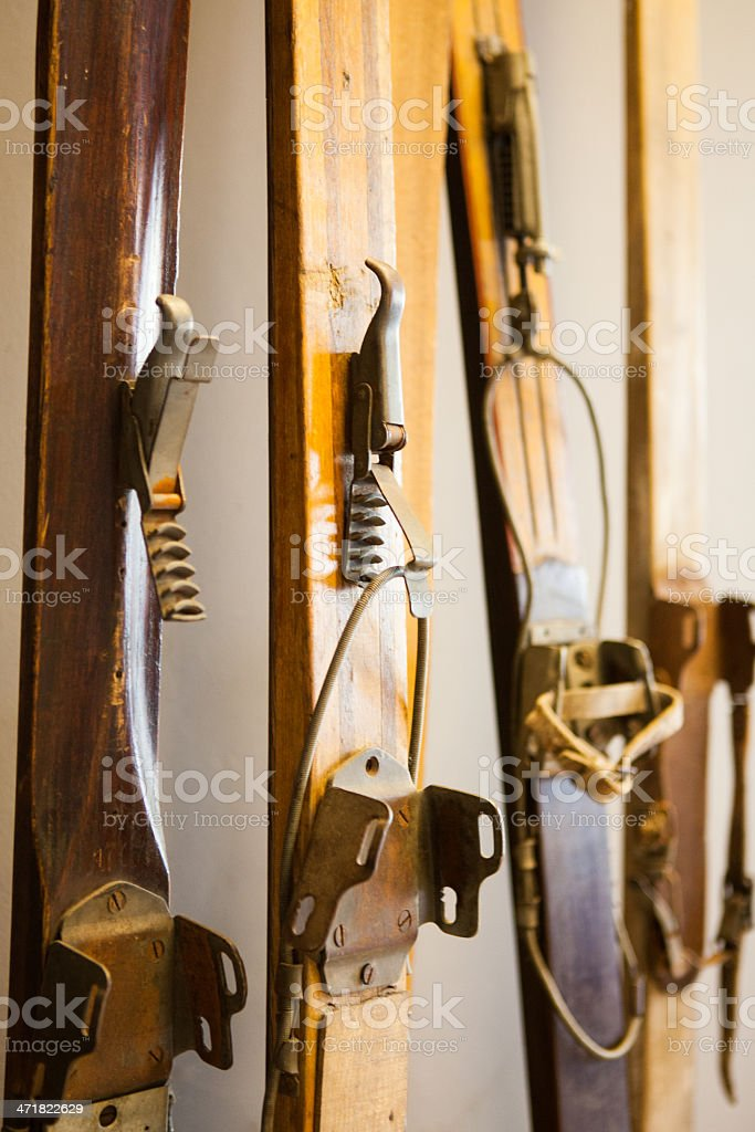 Old wooden skis royalty-free stock photo