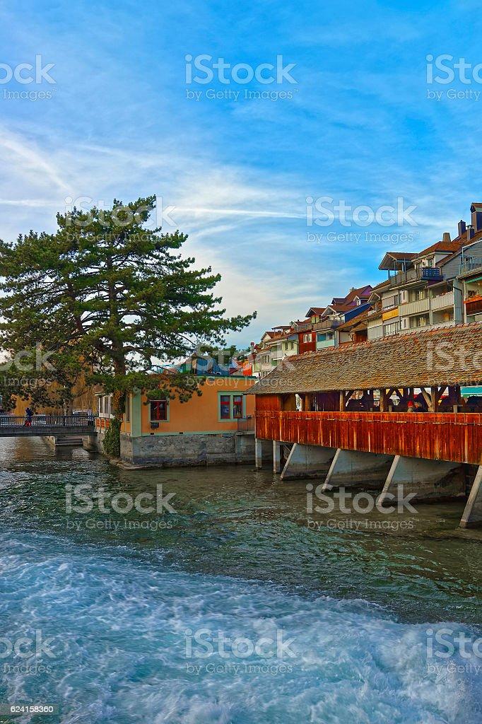 Old Wooden Sluice bridge in Old City of Thun stock photo