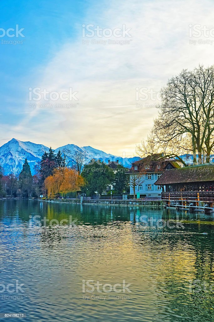 Old Wooden Sluice bridge in the Old City of Thun stock photo