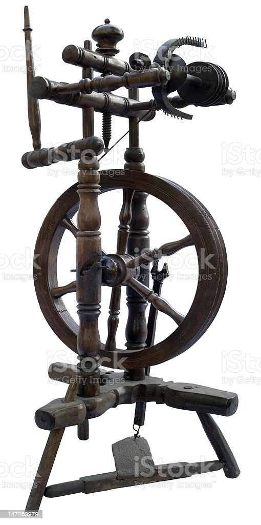 Old wooden spindle stock photo