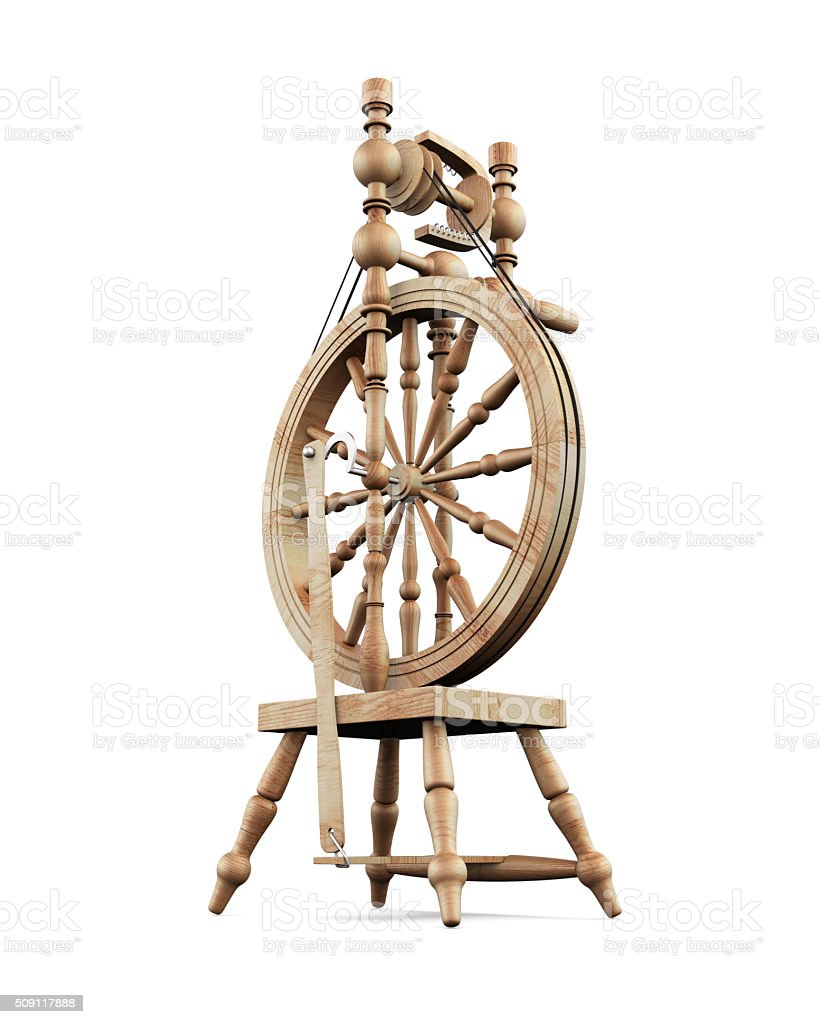 Old wooden spinning wheel on white background. stock photo