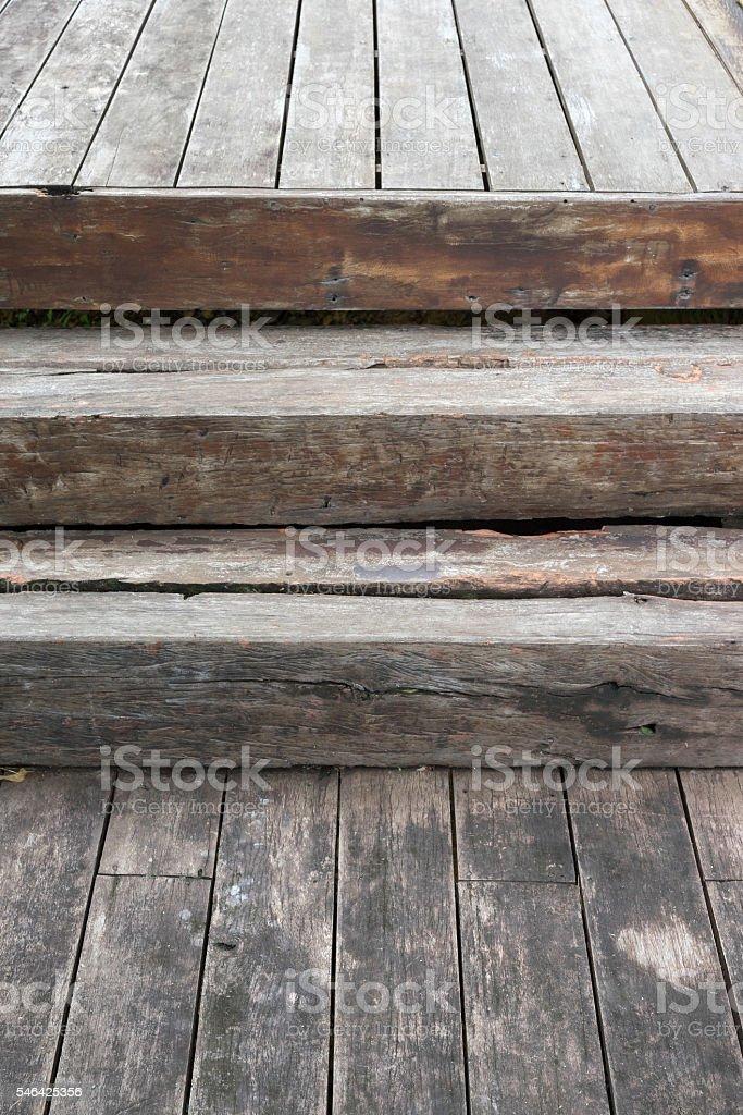 Old wooden stairway on wooden floor photo libre de droits