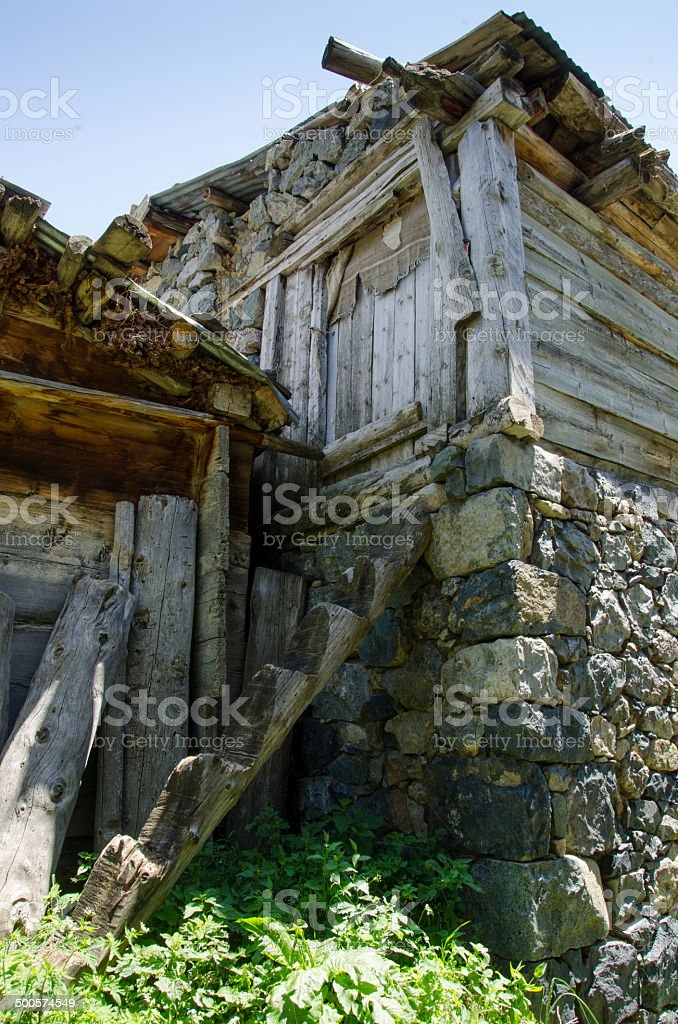 Old wooden steps royalty-free stock photo
