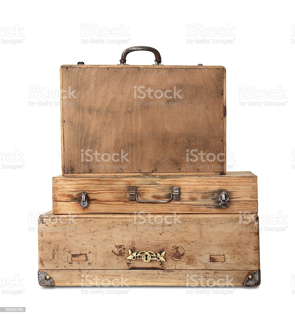 Old Wooden Suitcase royalty-free stock photo