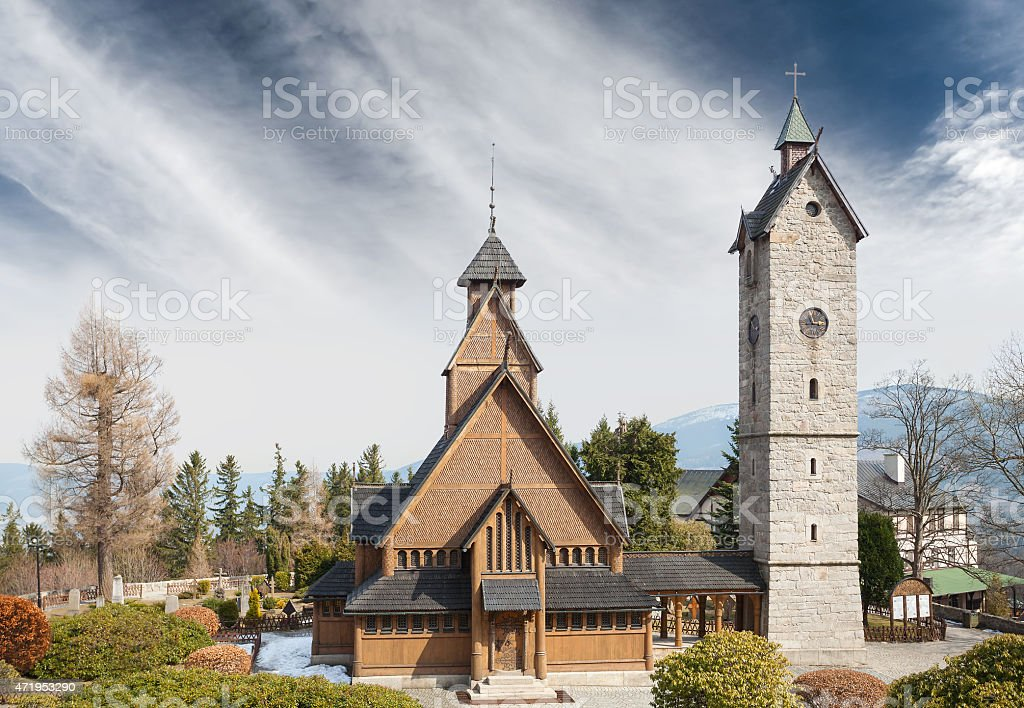 Old wooden temple Wang in Karpacz. stock photo