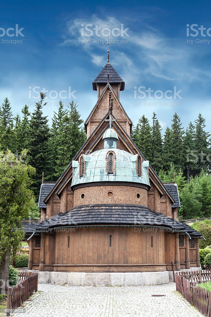 Old wooden temple Wang in Karpacz, Poland. stock photo